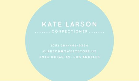 Ontwerpsjabloon van Business card van Confectioner Contacts with Circle Frame in Blue