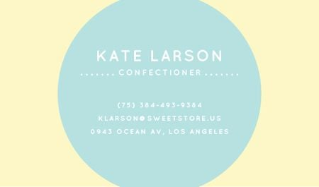 Confectioner Contacts with Circle Frame in Blue Business card Modelo de Design