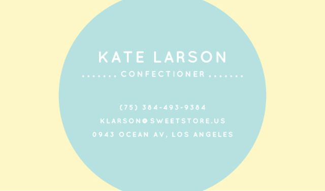 Confectioner Contacts with Circle Frame in Blue Business card Tasarım Şablonu