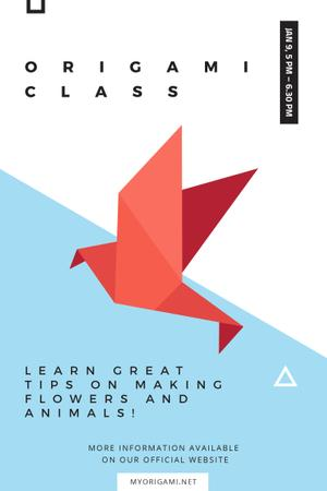 Plantilla de diseño de Origami class Invitation with Paper Bird Pinterest
