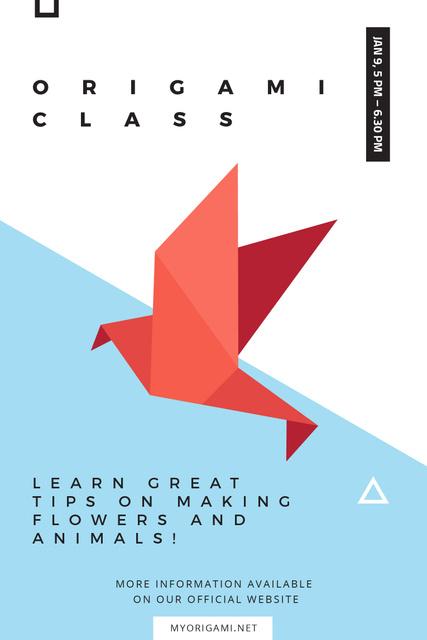 Plantilla de diseño de Origami class Invitation with Paper Bird Pinterest