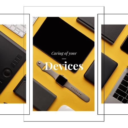 Smart Watch and Digital Devices in Yellow Animated Post Modelo de Design