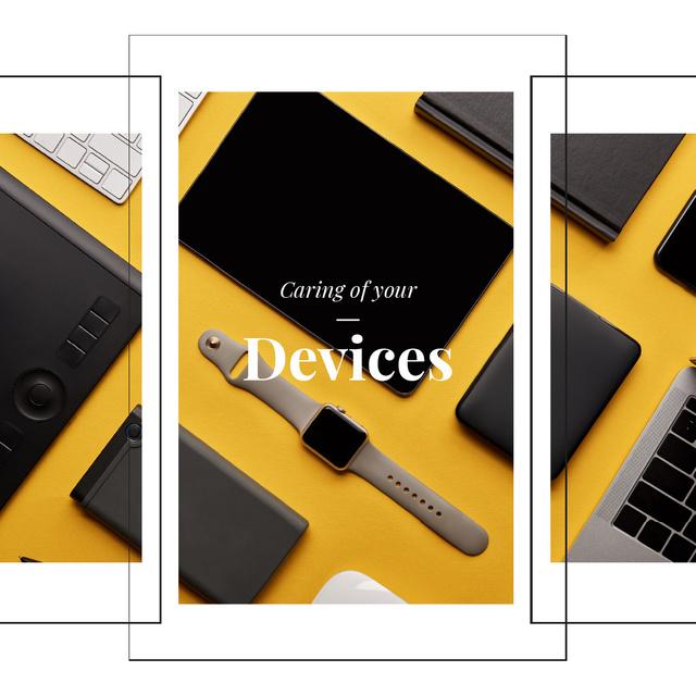 Plantilla de diseño de Smart Watch and Digital Devices in Yellow Animated Post