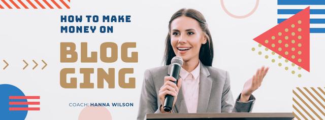 Ontwerpsjabloon van Facebook cover van Businesswoman presenting with microphone