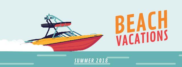 Plantilla de diseño de Yacht sailing fast on blue sea Facebook Video cover