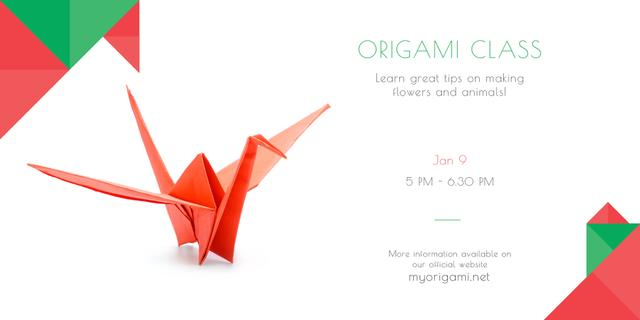 Plantilla de diseño de Origami class Announcement with paper bird Twitter