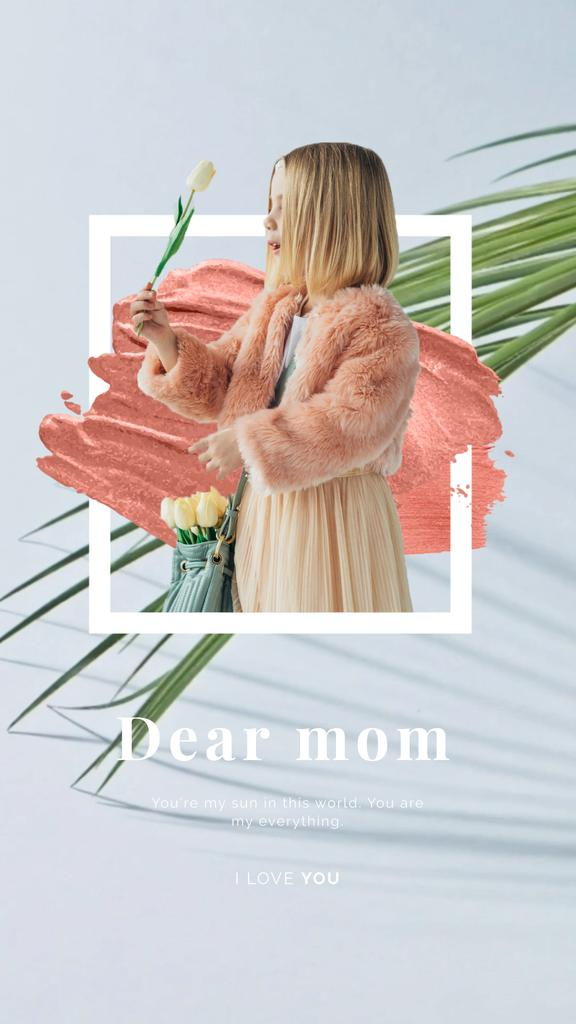 Mother's Day Greeting Girl Holding Flower | Vertical Video Template — Créer un visuel