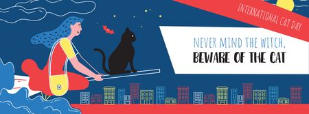 International Cat Day Girl flying with Black Cat Facebook cover – шаблон для дизайна
