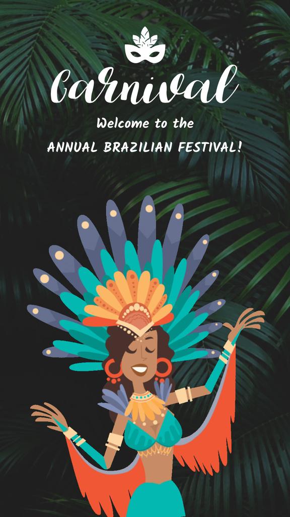 Brazilian Carnival Invitation Woman Dancing in Jungle — ein Design erstellen