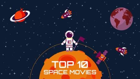 Space Movies Guide Astronaut in Space Full HD video Tasarım Şablonu