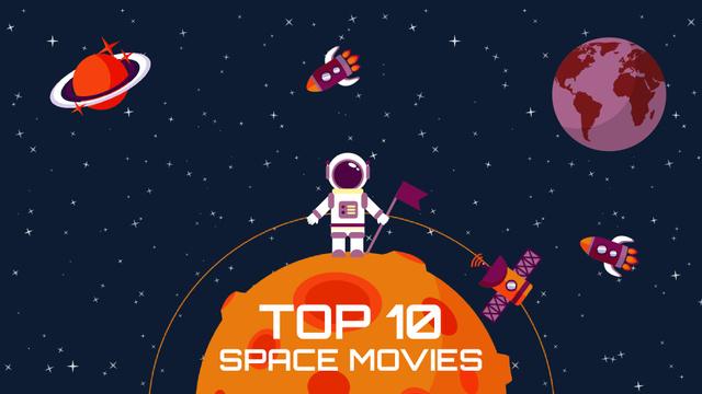Plantilla de diseño de Space Movies Guide Astronaut in Space Full HD video
