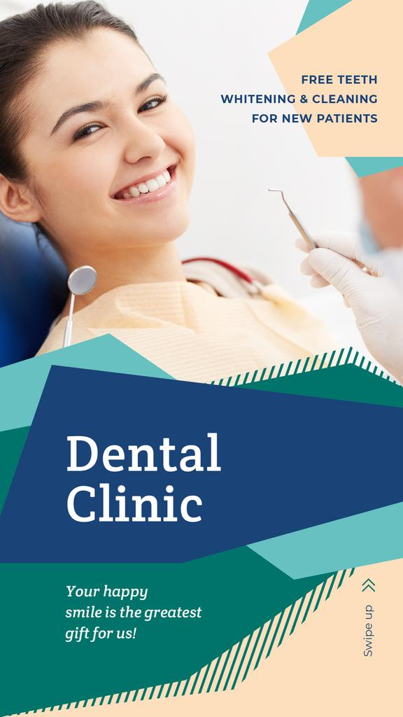 Smiling Woman visiting dentist — Maak een ontwerp