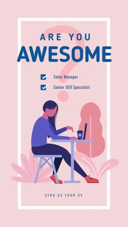 Template di design Woman working on laptop Instagram Story