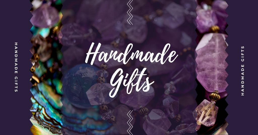 Handmade Jewelry Ad Shiny Colorful Gems in Purple — Crea un design