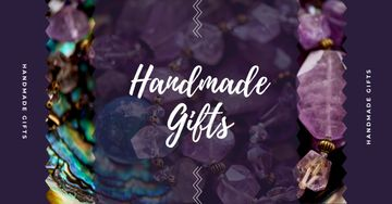 Handmade Jewelry Ad Shiny Colorful Gems in Purple