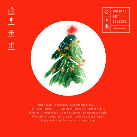 Plantilla de diseño de Decorated Christmas tree in Red Animated Post