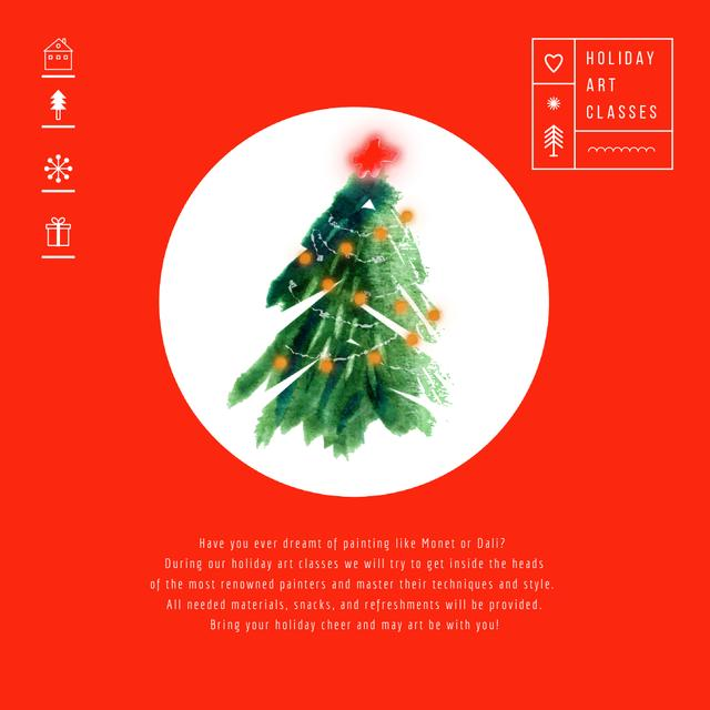Decorated Christmas tree in Red Animated Post Modelo de Design