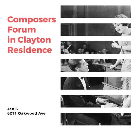 Designvorlage Composers Forum Invitation Pianist and Singer für Instagram AD