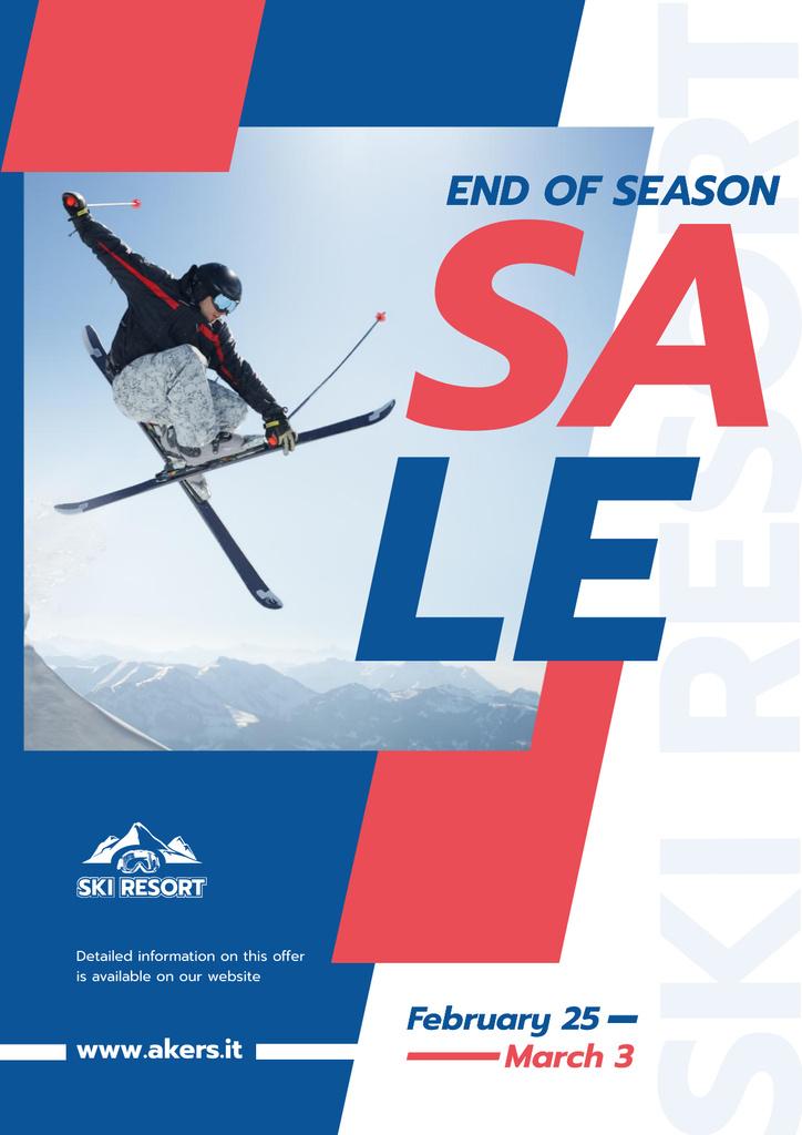 Skier Jumping on a Snowy Slope Poster Modelo de Design