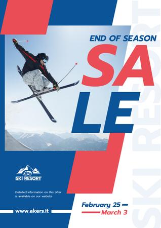 Skier Jumping on a Snowy Slope Poster Modelo de Design