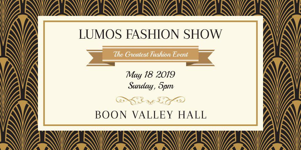 Fashion Show Invitation Golden Art Deco Pattern | Twitter Post Template — Create a Design