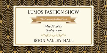 Fashion Show Invitation with Golden Art Deco Pattern