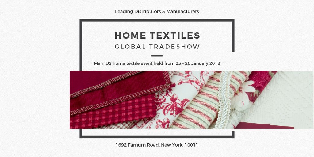 Home Textiles Event Announcement in Red Image Design Template