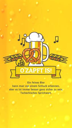 Oktoberfest Offer Lager in Glass Mug in Yellow Instagram Video Story Modelo de Design