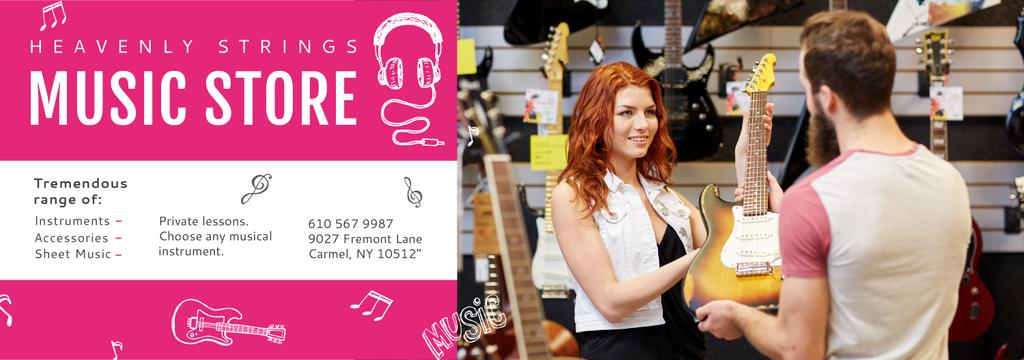 Music Store Ad Woman Selling Guitar — Crear un diseño