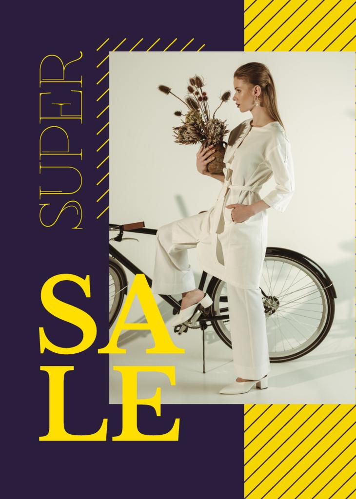 Clothes Sale Young Attractive Woman by Bicycle — Maak een ontwerp