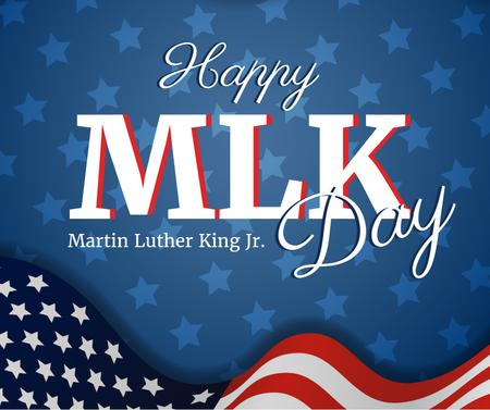 Modèle de visuel Martin Luther King Day Greeting with Flag - Facebook