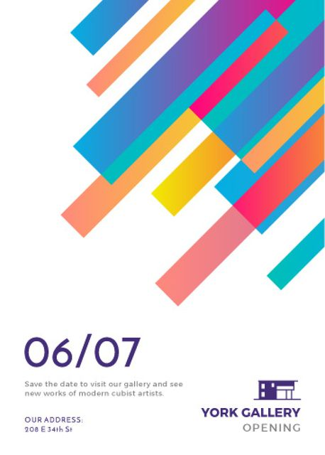 Plantilla de diseño de Gallery Opening announcement Colorful Lines Invitation