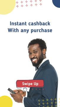 Cashback ad smiling Man using Smartphone