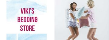 Bedding Store Offer with Girls playing Pillow Fight