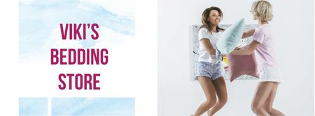 Plantilla de diseño de Bedding Store Offer with Girls playing Pillow Fight Facebook cover