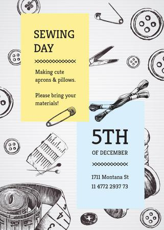 Designvorlage Sewing day event with needlework tools für Invitation