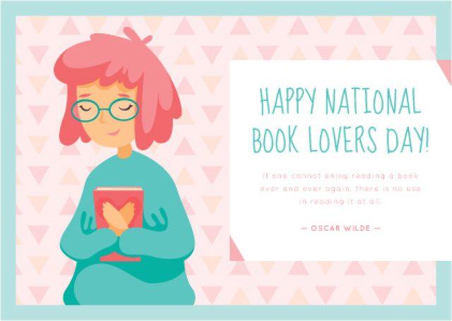 Plantilla de diseño de National Book Lovers day greeting Card