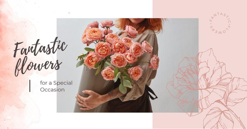 Ontwerpsjabloon van Facebook AD van Florist with bouquet of roses
