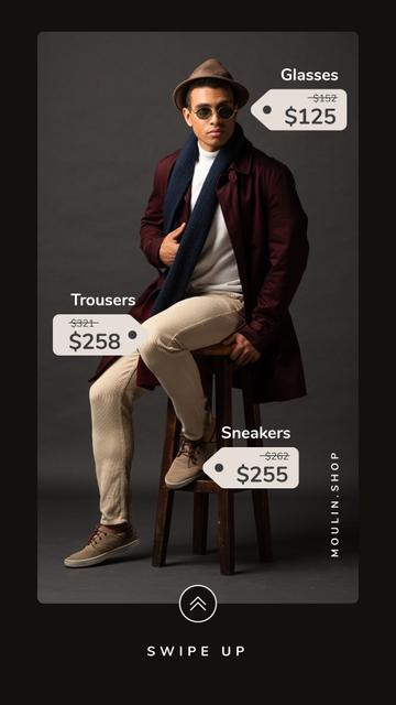 Fashion Sale Stylish Man in Hat and Sunglasses Instagram Story – шаблон для дизайна