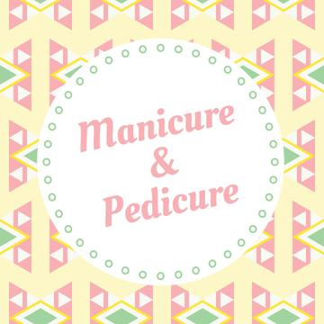 Manicure and pedicure services ad on geometric pattern