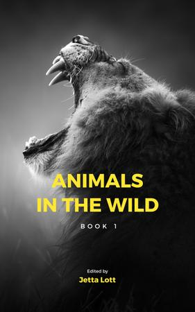Wild Lion Roaring in Black and White Book Cover – шаблон для дизайна