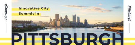 Ontwerpsjabloon van Twitter van Pittsburgh Conference Announcement with City View