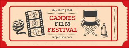 Designvorlage Cannes Film Festival with film attributes für Facebook cover