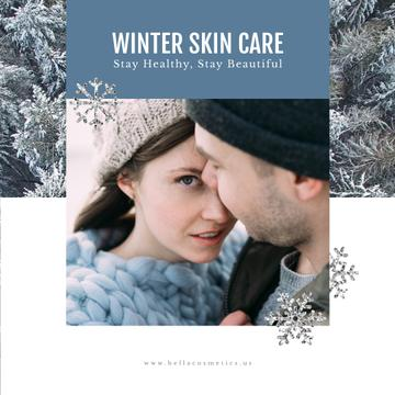 Skincare Guide with Tender Couple in Winter Clothes
