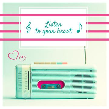 Inspirational Quote with Retro Radio in Mint Color