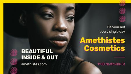 Ontwerpsjabloon van FB event cover van Cosmetics event with Beautiful African American Woman