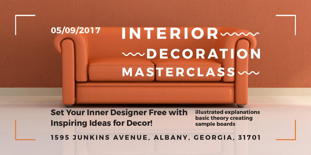 Designvorlage Interior decoration masterclass für Twitter