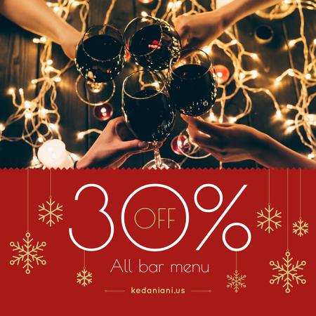 Christmas Bar Offer People Toasting with Wine Instagram Modelo de Design