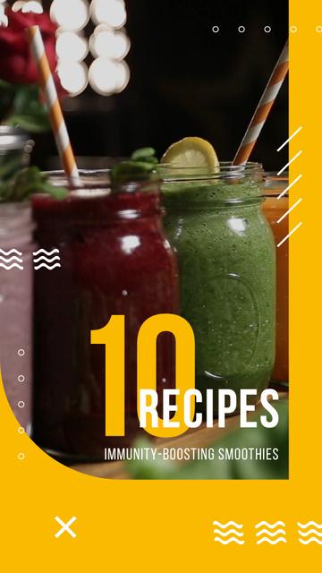 Plantilla de diseño de Healthy Drinks Recipes Jars with Smoothies Instagram Video Story