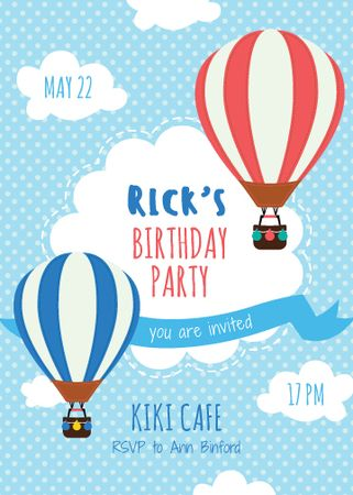 Birthday Party Invitation Hot Air Balloons Invitation Modelo de Design